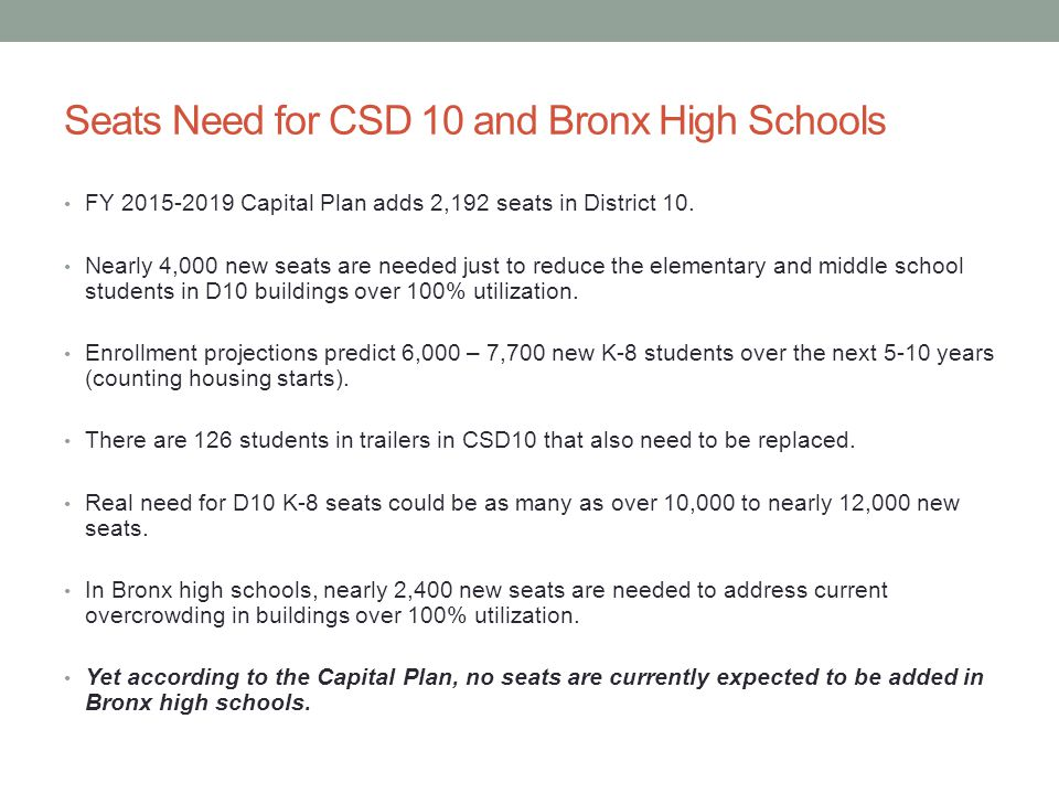 Seats Need for CSD 10 and Bronx High Schools FY 2015-2019 Capital Plan adds 2,192 seats in District 10.