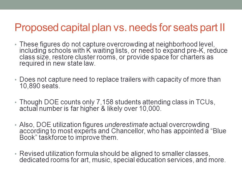 Proposed capital plan vs.