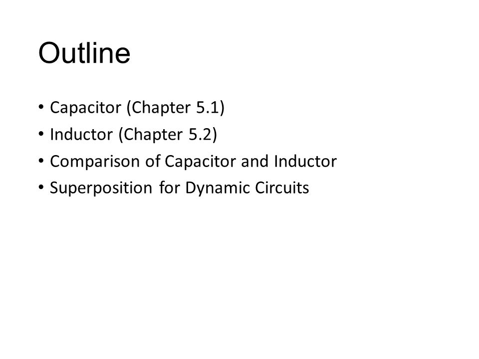 Inductor – i-v characteristics If i=constant v=0 short circuit Dynamic reference current should flow from + to -