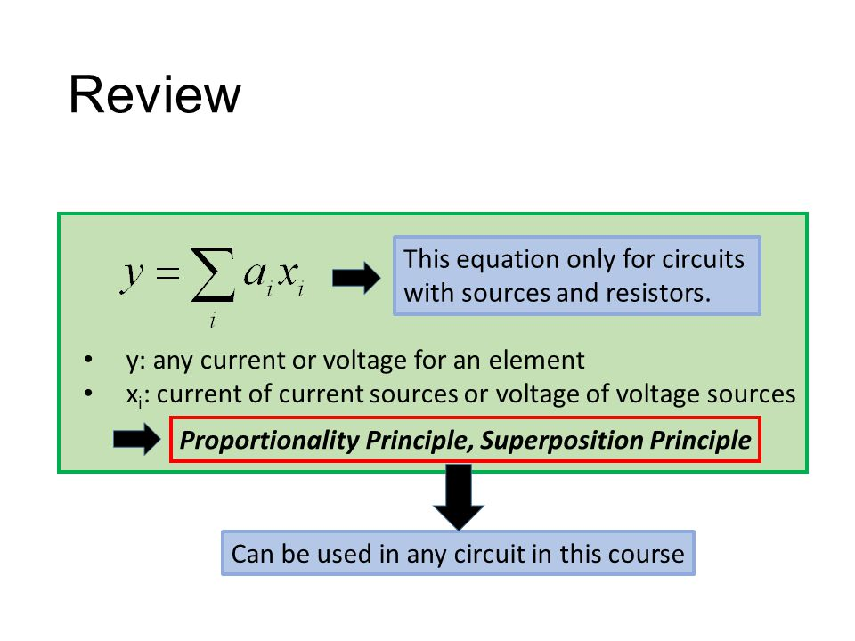 Review This equation only for circuits with sources and resistors.