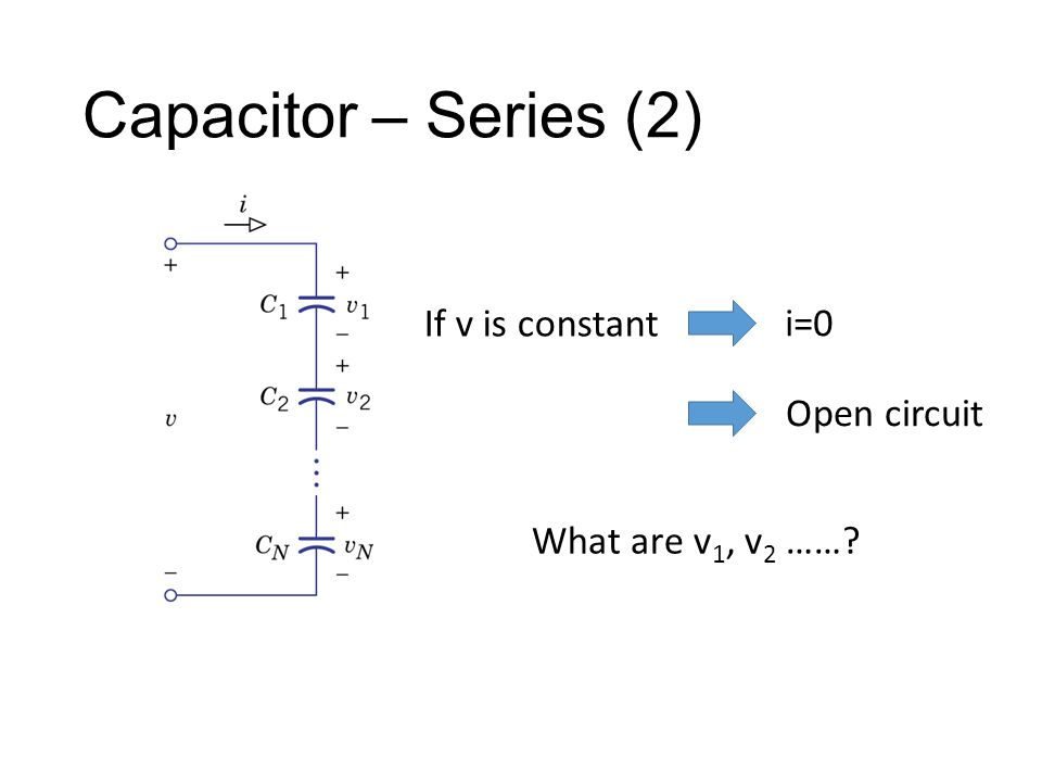 Capacitor – Series (2) If v is constant i=0 Open circuit What are v 1, v 2 ……?