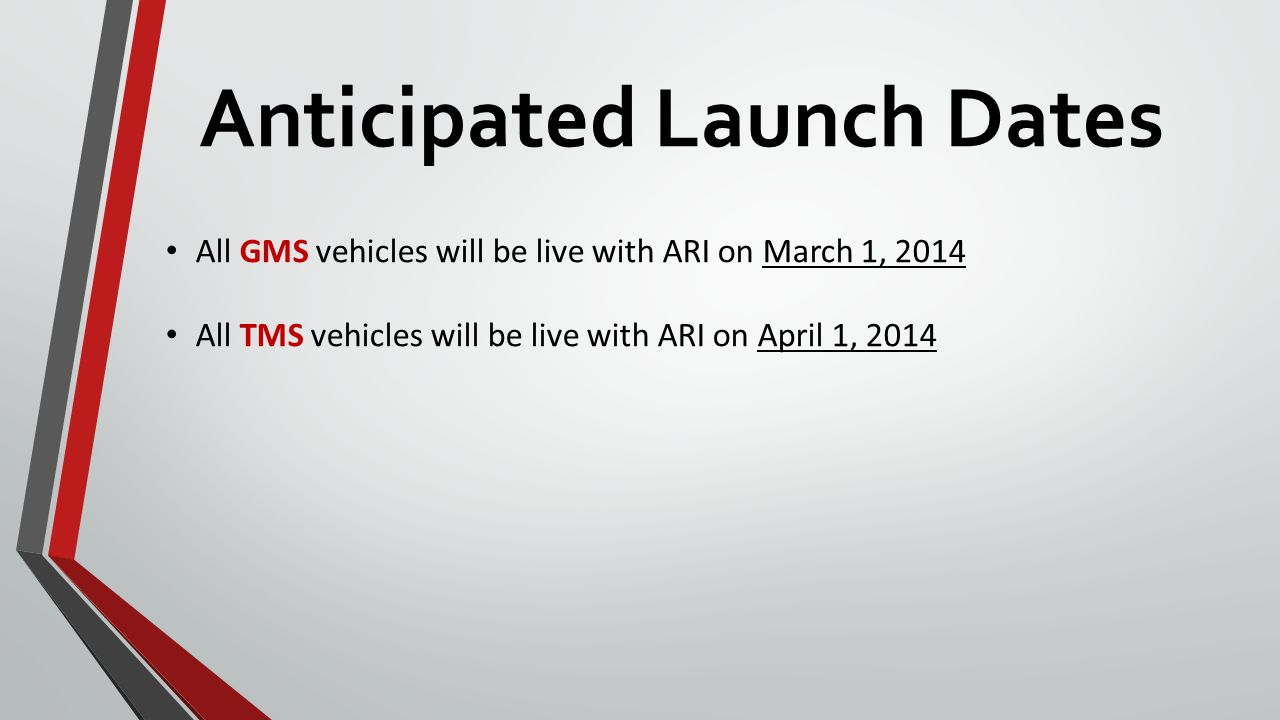 Anticipated Launch Dates All GMS vehicles will be live with ARI on March 1, 2014 All TMS vehicles will be live with ARI on April 1, 2014