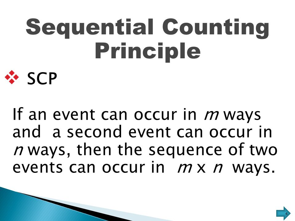 SCP  Fundamental Counting Principle If an event can occur in m ways, and then a second event can occur in n ways, and then a third event can occur in r ways, and so on, then the sequence of events can occur in m n n  r  … ways.