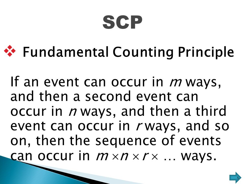 SCP  Fundamental Counting Principle If an event can occur in m ways, and then a second event can occur in n ways, and then a third event can occur in r ways, and so on, then the sequence of events can occur in m n n  r  … ways.
