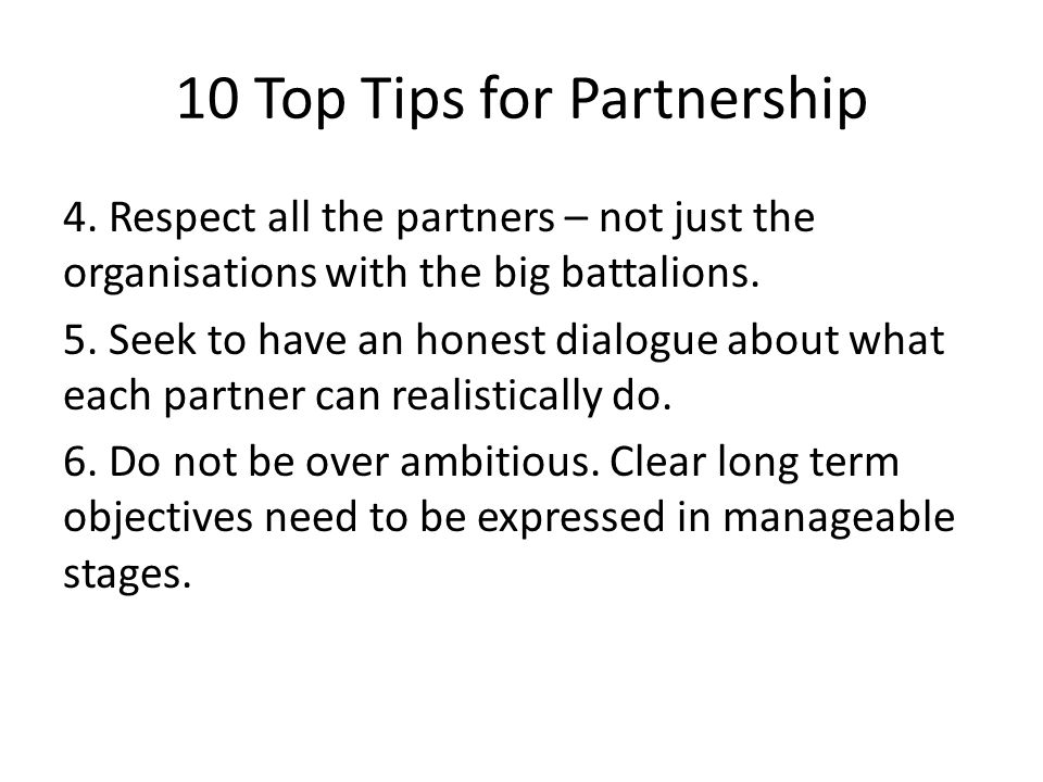 10 Top Tips for Partnership 4.