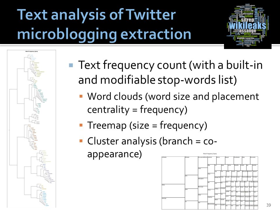 Text frequency count (with a built-in and modifiable stop-words list)  Word clouds (word size and placement centrality = frequency)  Treemap (size = frequency)  Cluster analysis (branch = co- appearance) 39