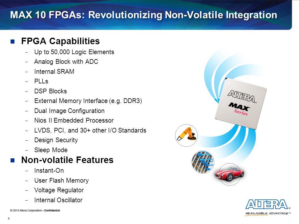 MAX 10 FPGAs: Revolutionizing Non-Volatile Integration FPGA Capabilities  Up to 50,000 Logic Elements  Analog Block with ADC  Internal SRAM  PLLs