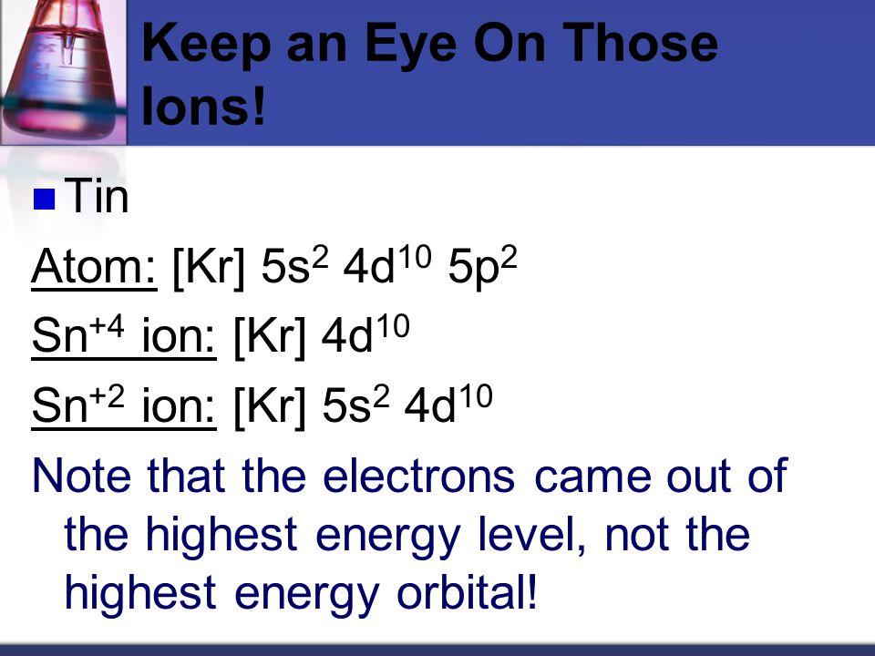Keep an Eye On Those Ions.