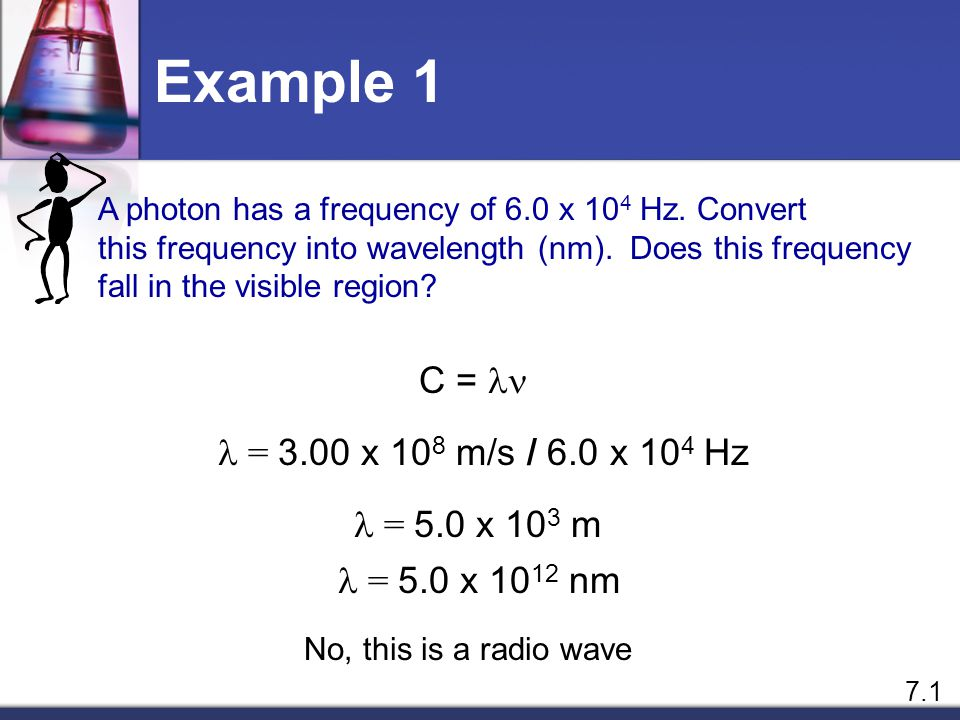 Relationship Between Frequency and Wavelength Frequency and Wavelength are inversely related C = Where c = speed of light,  is the wavelength, and  is the frequency