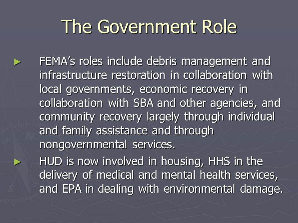 Public Assistance ► For reimbursement of expenditures during a disaster operation and the recovery effort, local governments have to  determine what expenditures are reimbursable under federal law;  document those expenditures; and  submit a request for reimbursement.
