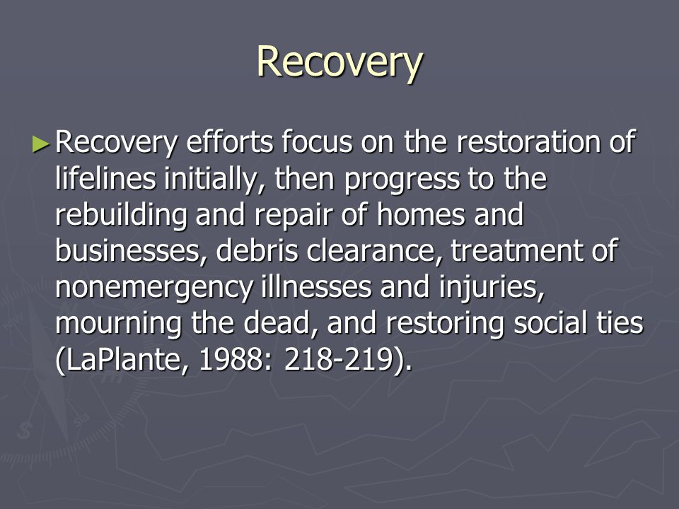 The Politics of Disaster Recovery ► The very nature of disasters causes conflict, anger, and distrust among victims, government authorities, and other relief officials.