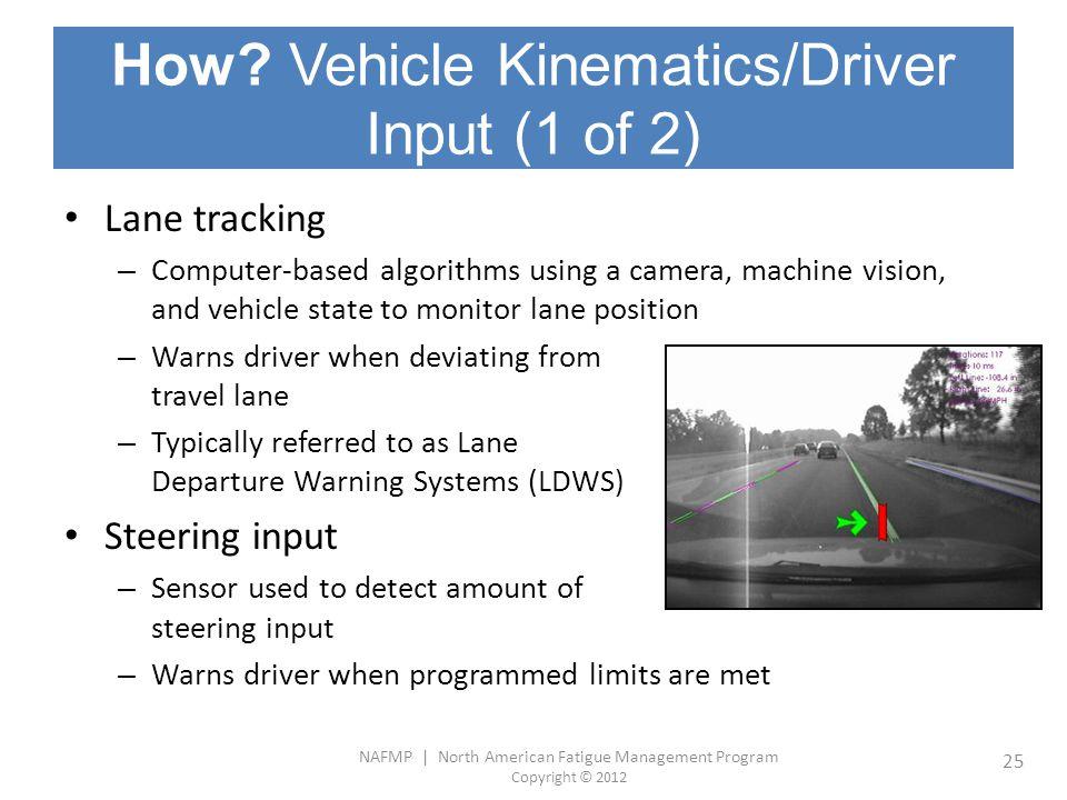 NAFMP | North American Fatigue Management Program Copyright © 2012 25 How? Vehicle Kinematics/Driver Input (1 of 2) Lane tracking – Computer-based alg