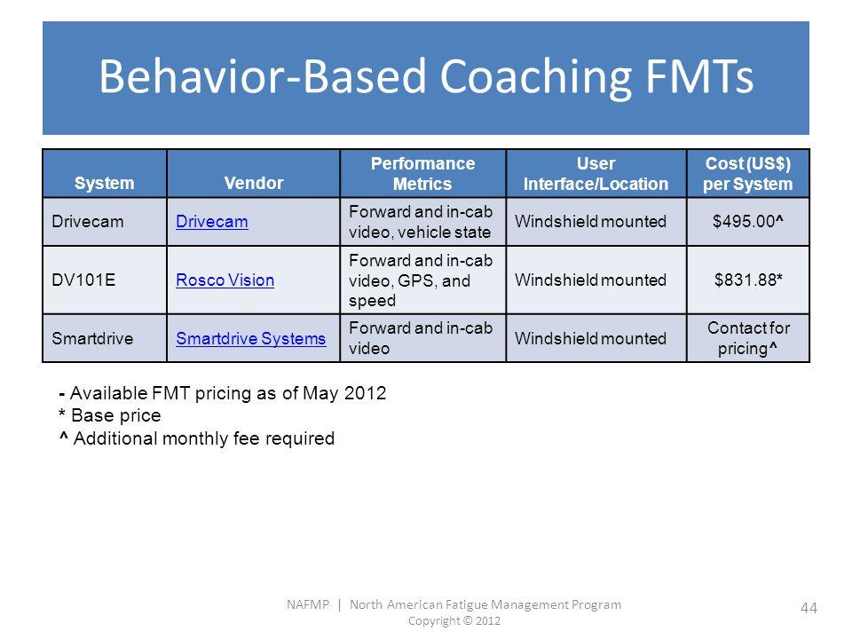 NAFMP | North American Fatigue Management Program Copyright © 2012 44 Behavior-Based Coaching FMTs SystemVendor Performance Metrics User Interface/Loc