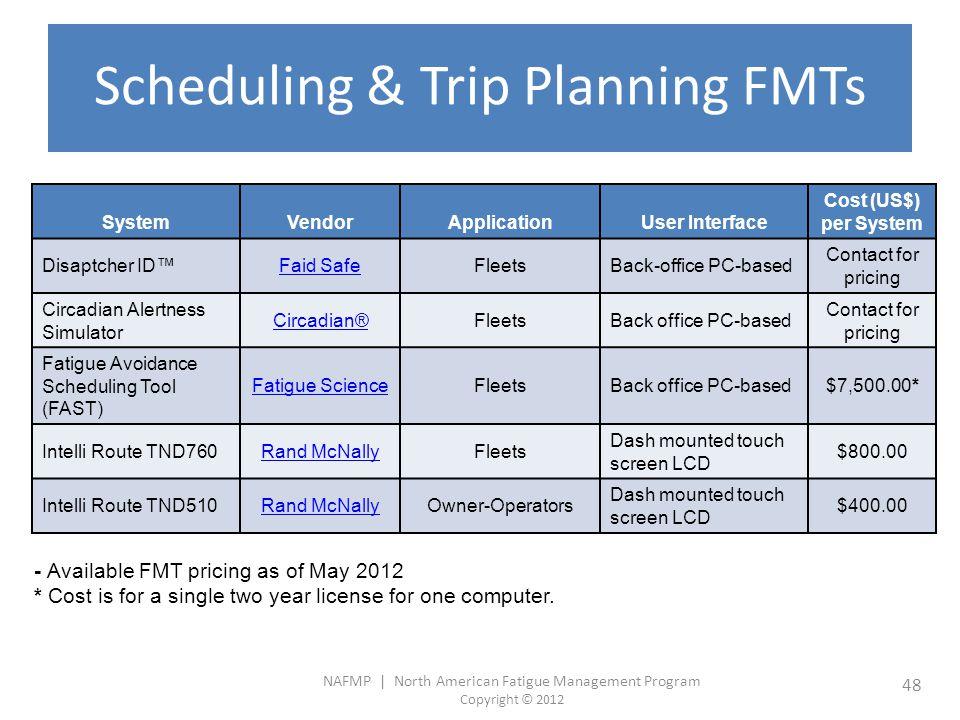 NAFMP | North American Fatigue Management Program Copyright © 2012 48 Scheduling & Trip Planning FMTs SystemVendorApplicationUser Interface Cost (US$)