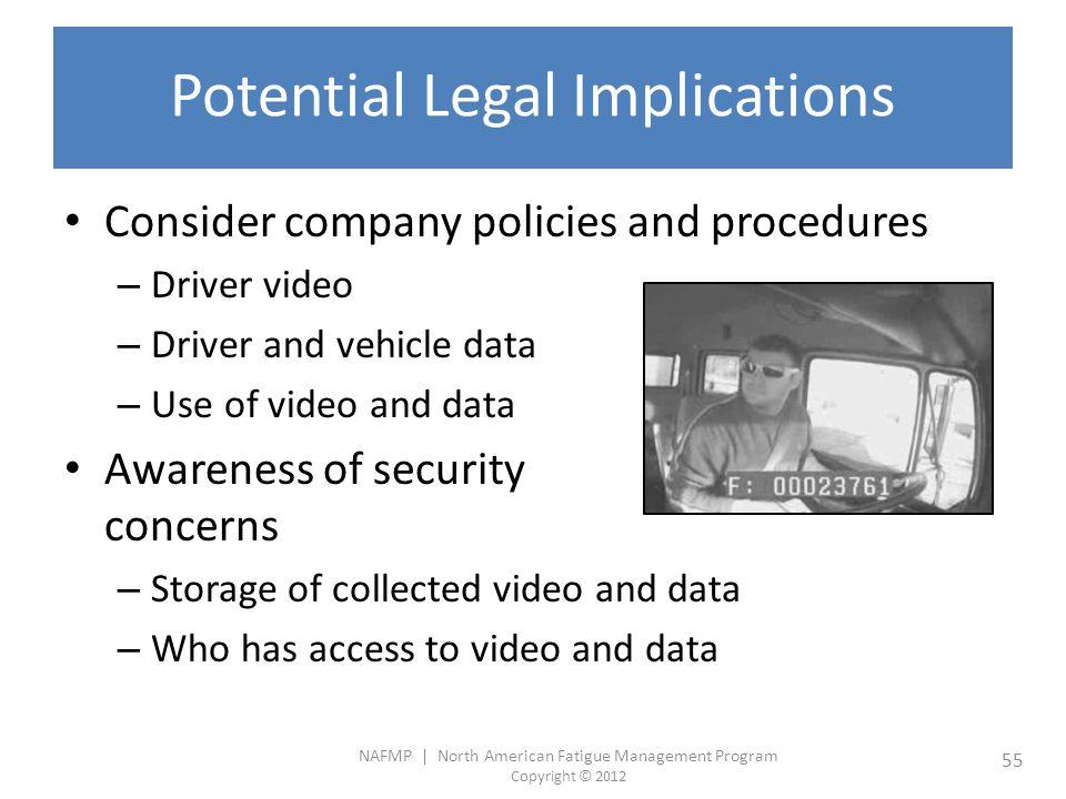 NAFMP | North American Fatigue Management Program Copyright © 2012 55 Potential Legal Implications Consider company policies and procedures – Driver v