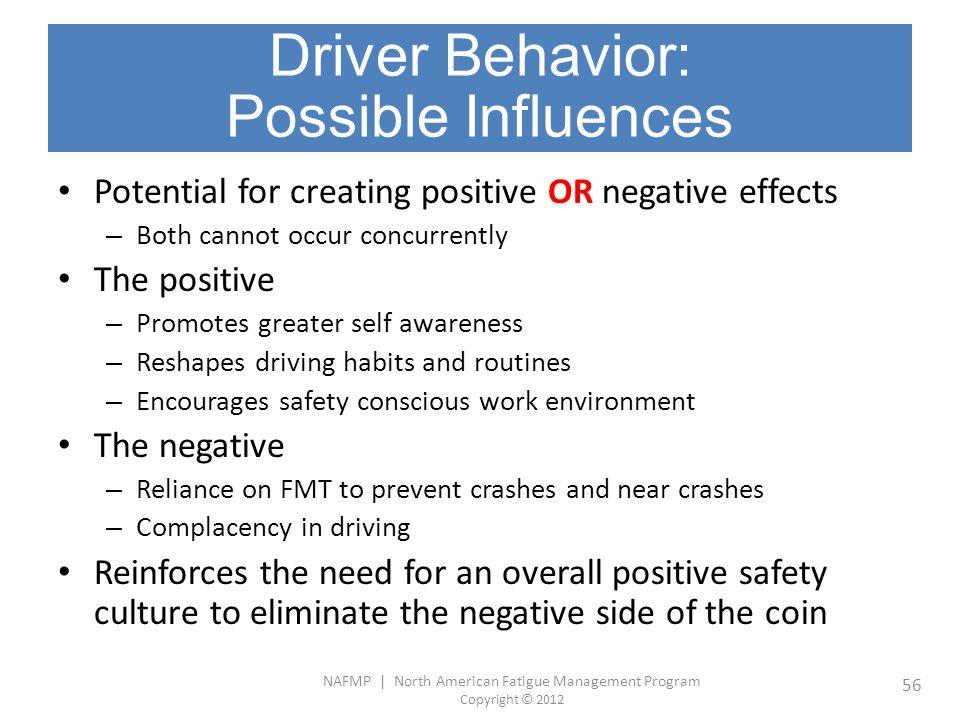NAFMP | North American Fatigue Management Program Copyright © 2012 56 Driver Behavior: Possible Influences Potential for creating positive OR negative