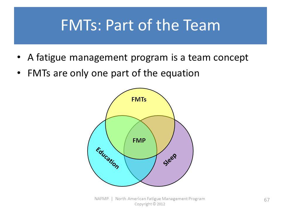 NAFMP | North American Fatigue Management Program Copyright © 2012 67 FMTs: Part of the Team A fatigue management program is a team concept FMTs are o