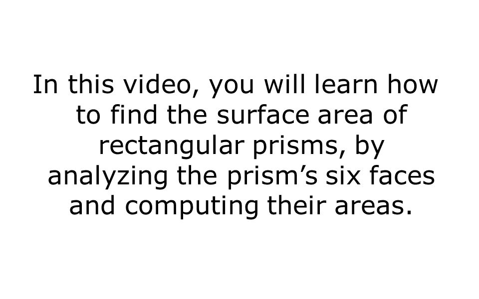 In this video, you will learn how to find the surface area of rectangular prisms, by analyzing the prism's six faces and computing their areas.