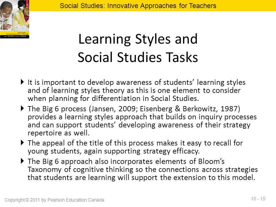 Learning Styles and Social Studies Tasks  It is important to develop awareness of students' learning styles and of learning styles theory as this is