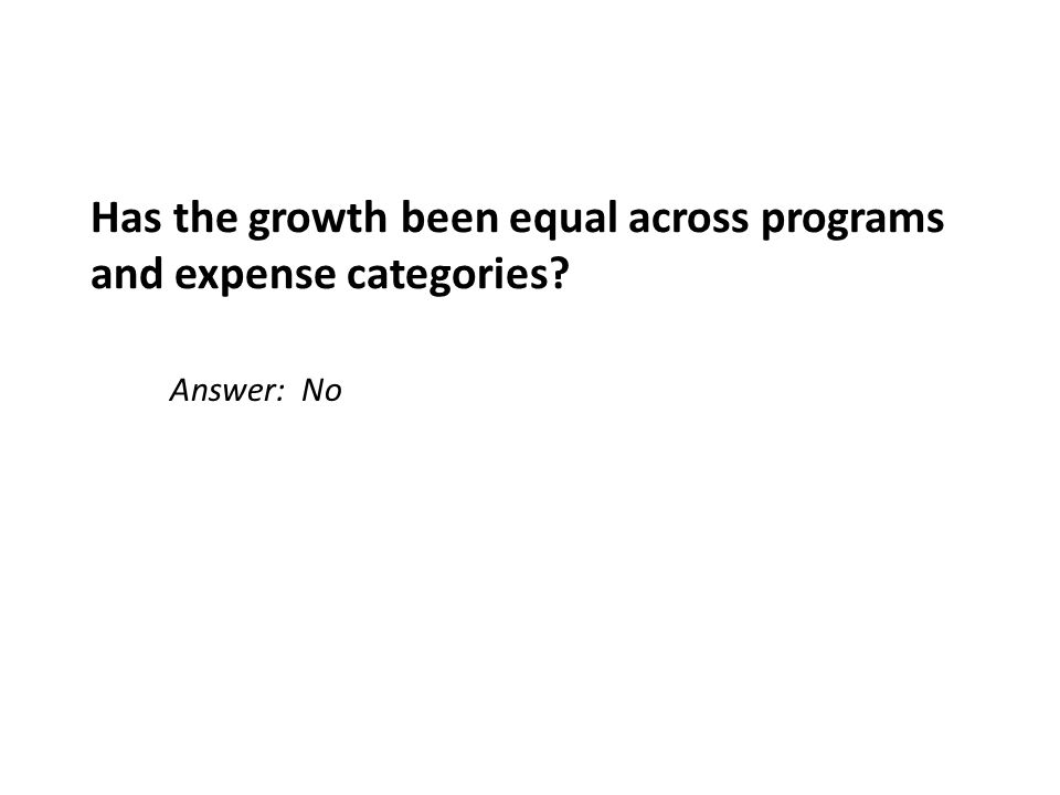 Has the growth been equal across programs and expense categories Answer: No