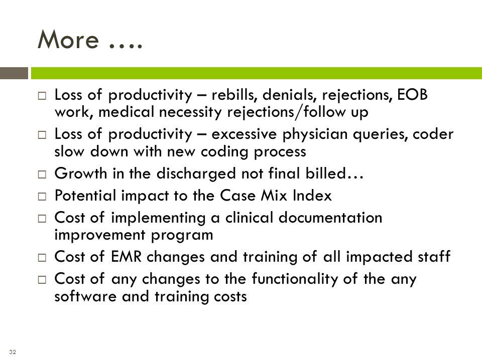 32 More ….  Loss of productivity – rebills, denials, rejections, EOB work, medical necessity rejections/follow up  Loss of productivity – excessive