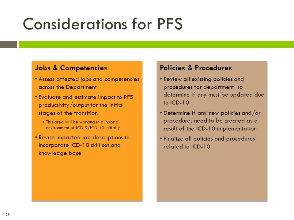 39 Considerations for PFS Jobs & Competencies Assess affected jobs and competencies across the Department Evaluate and estimate impact to PFS producti