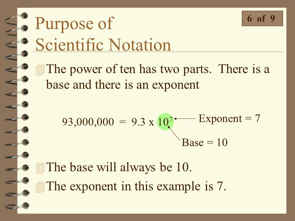 Purpose of Scientific Notation  Which number below is written in scientific notation? 5 of 9  1.82 x 10 -6 is the only number that is written strict