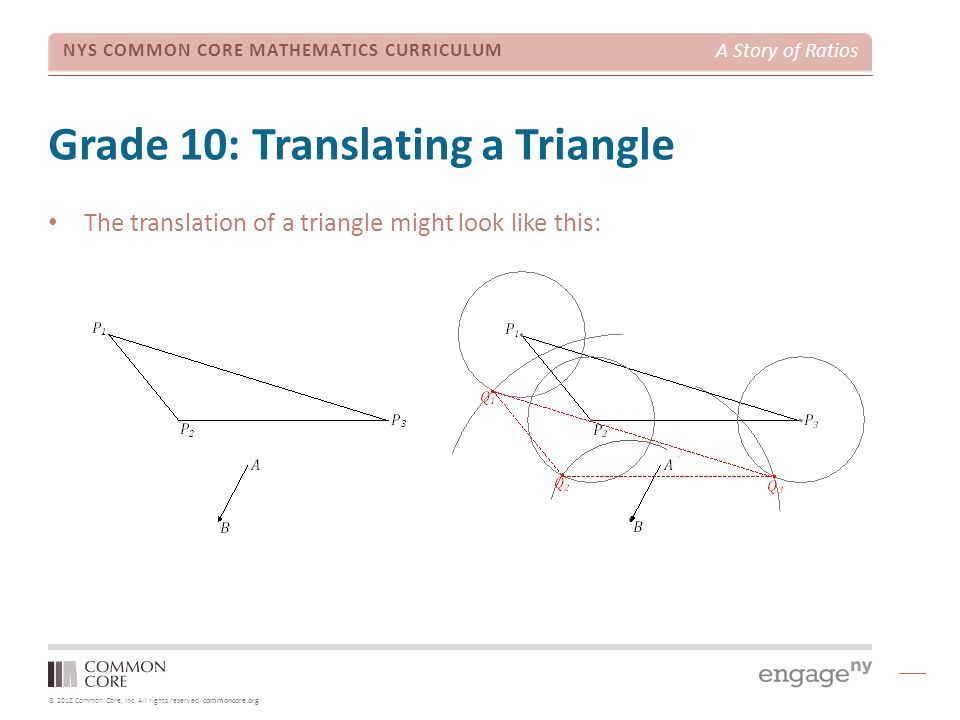 © 2012 Common Core, Inc. All rights reserved. commoncore.org NYS COMMON CORE MATHEMATICS CURRICULUM A Story of Ratios Grade 10: Translating a Triangle