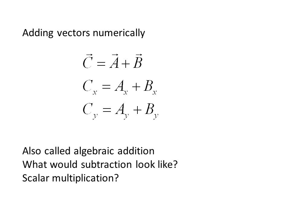 Adding vectors numerically Also called algebraic addition What would subtraction look like.