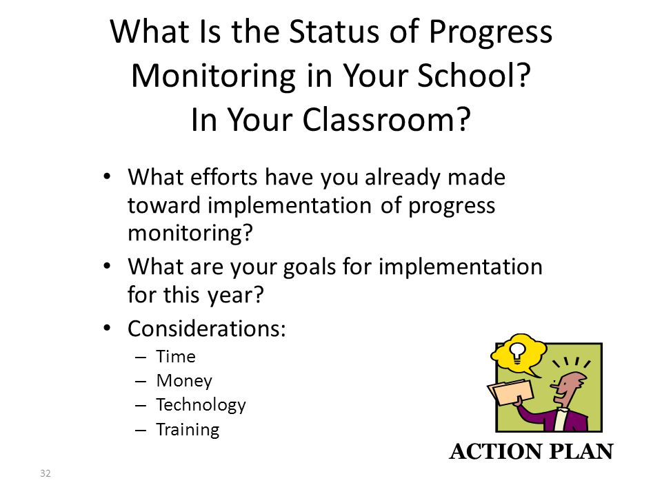 32 What Is the Status of Progress Monitoring in Your School.
