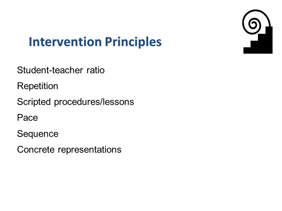 Student-teacher ratio Repetition Scripted procedures/lessons Pace Sequence Concrete representations Intervention Principles 36