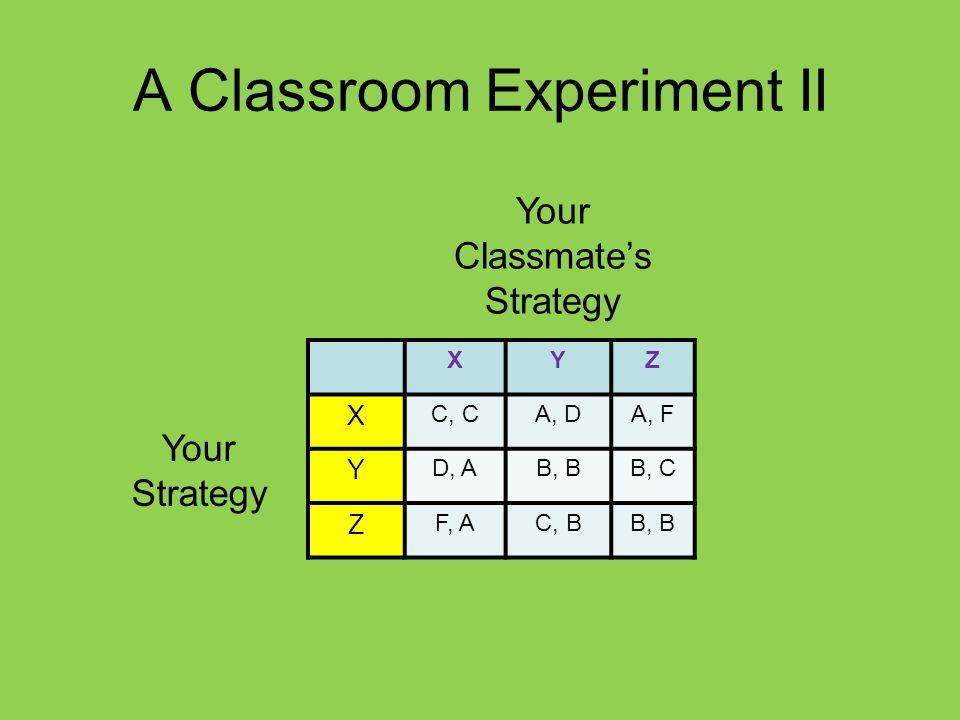 A Classroom Experiment II XYZ X C, CA, DA, F Y D, AB, BB, C Z F, AC, BB, B Your Strategy Your Classmate's Strategy