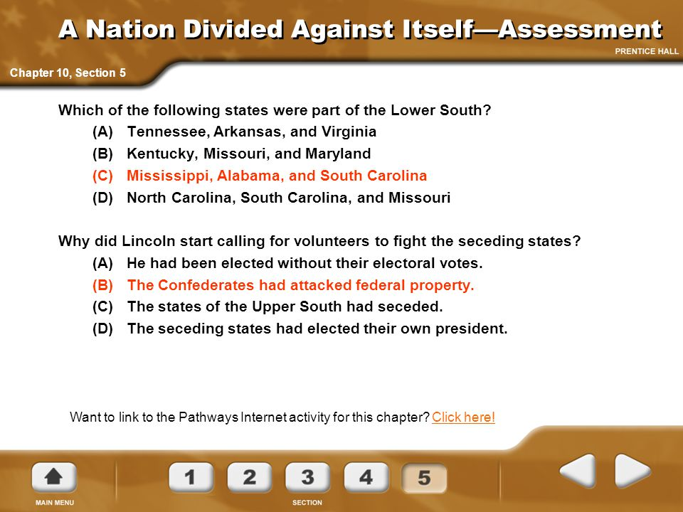 A Nation Divided Against Itself—Assessment Which of the following states were part of the Lower South.