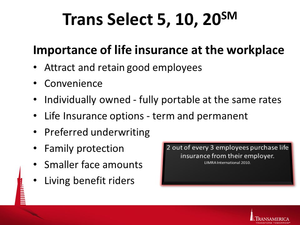 Trans Select 5, 10, 20 SM Importance of life insurance at the workplace Attract and retain good employees Convenience Individually owned - fully portable at the same rates Life Insurance options - term and permanent Preferred underwriting Family protection Smaller face amounts Living benefit riders