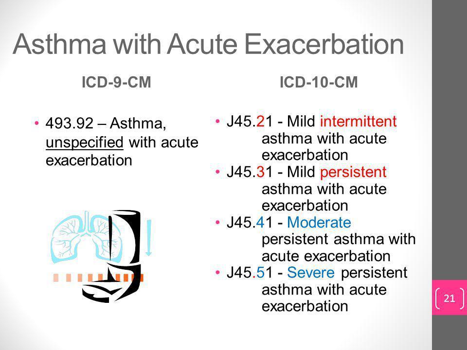 Asthma with Acute Exacerbation ICD-9-CM 493.92 – Asthma, unspecified with acute exacerbation ICD-10-CM J45.21 - Mild intermittent asthma with acute exacerbation J45.31 - Mild persistent asthma with acute exacerbation J45.41 - Moderate persistent asthma with acute exacerbation J45.51 - Severe persistent asthma with acute exacerbation 21