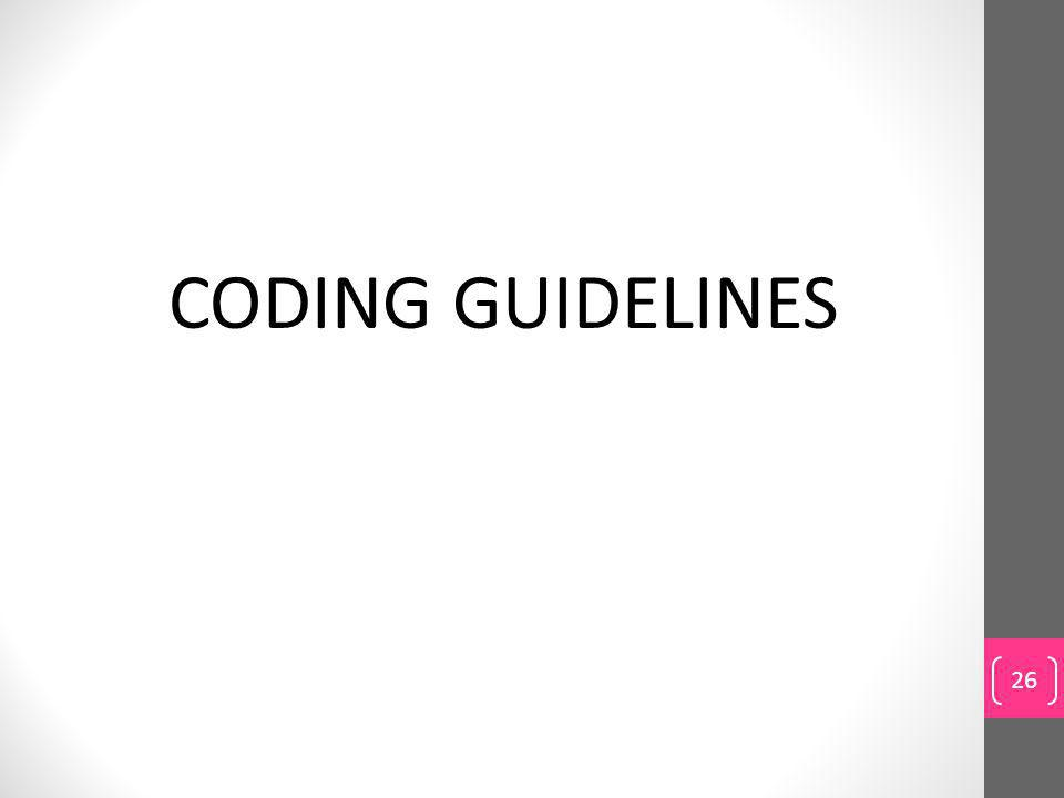 CODING GUIDELINES 26