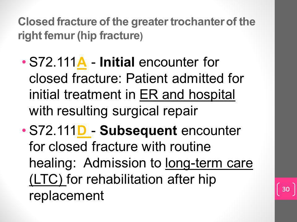 Closed fracture of the greater trochanter of the right femur (hip fracture ) S72.111A - Initial encounter for closed fracture: Patient admitted for initial treatment in ER and hospital with resulting surgical repair S72.111D - Subsequent encounter for closed fracture with routine healing: Admission to long-term care (LTC) for rehabilitation after hip replacement 30