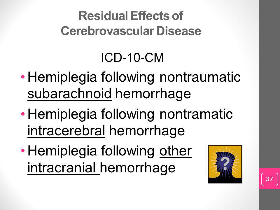 Residual Effects of Cerebrovascular Disease ICD-10-CM Hemiplegia following nontraumatic subarachnoid hemorrhage Hemiplegia following nontramatic intracerebral hemorrhage Hemiplegia following other intracranial hemorrhage 37