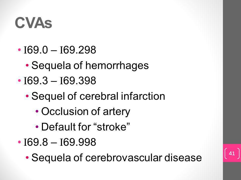 CVAs I 69.0 – I 69.298 Sequela of hemorrhages I 69.3 – I 69.398 Sequel of cerebral infarction Occlusion of artery Default for stroke I 69.8 – I 69.998 Sequela of cerebrovascular disease 41