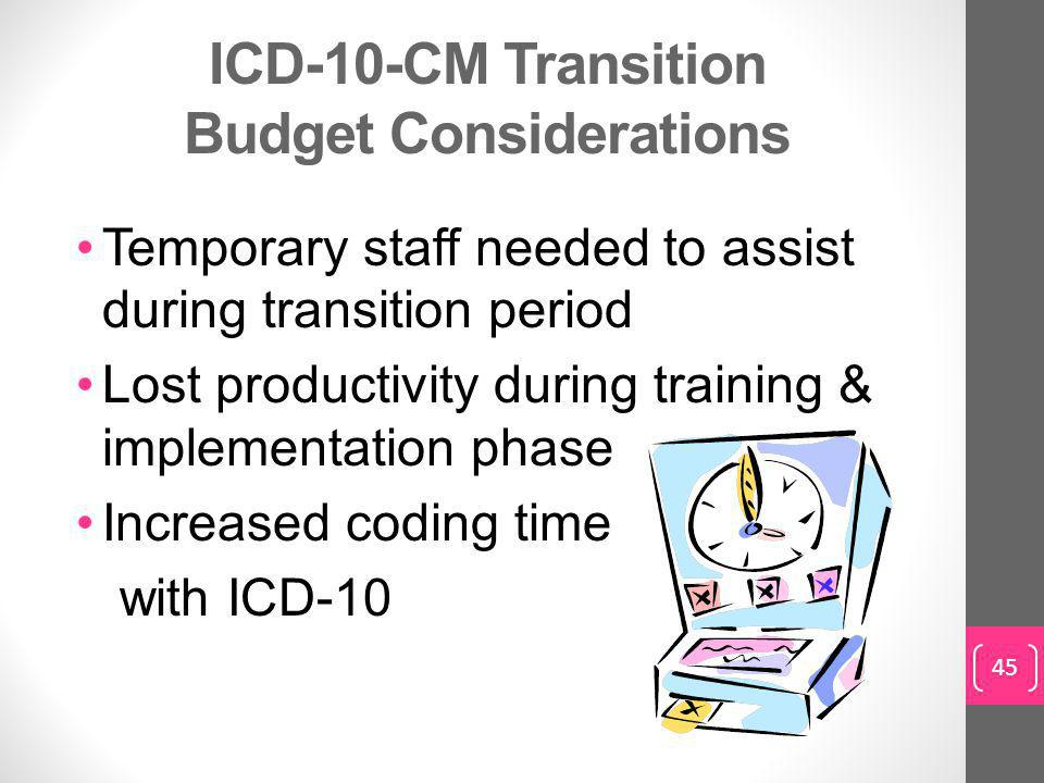 ICD-10-CM Transition Budget Considerations Temporary staff needed to assist during transition period Lost productivity during training & implementation phase Increased coding time with ICD-10 45