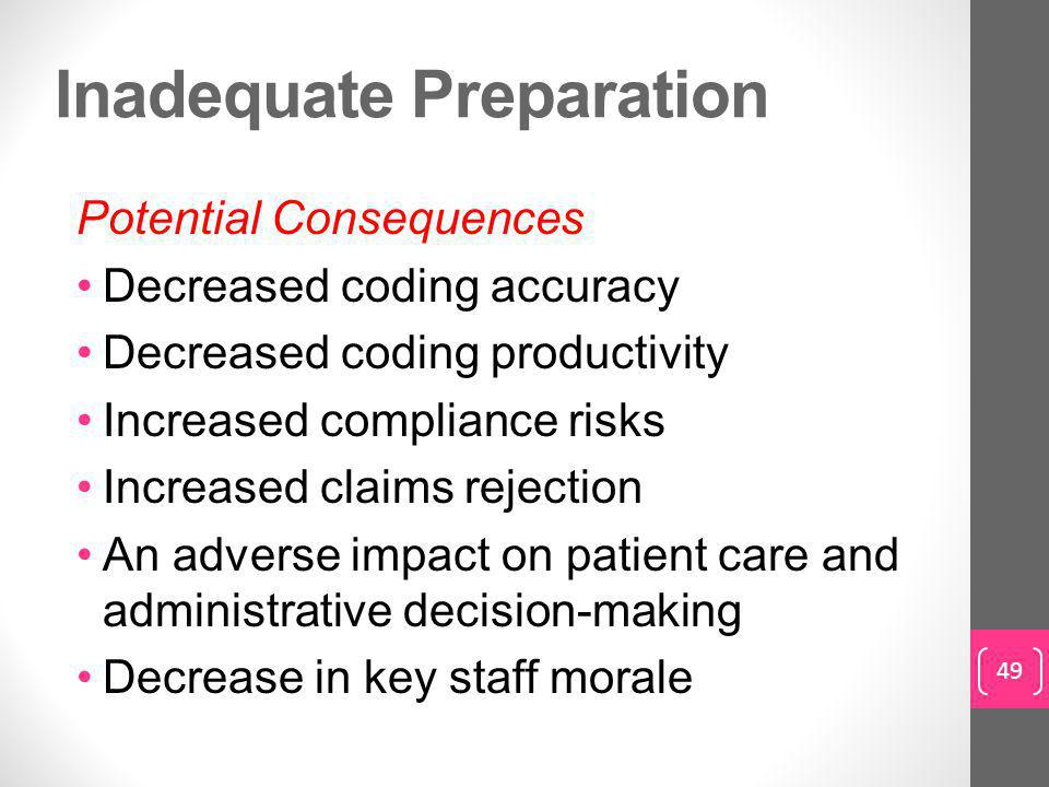 Inadequate Preparation Potential Consequences Decreased coding accuracy Decreased coding productivity Increased compliance risks Increased claims rejection An adverse impact on patient care and administrative decision-making Decrease in key staff morale 49
