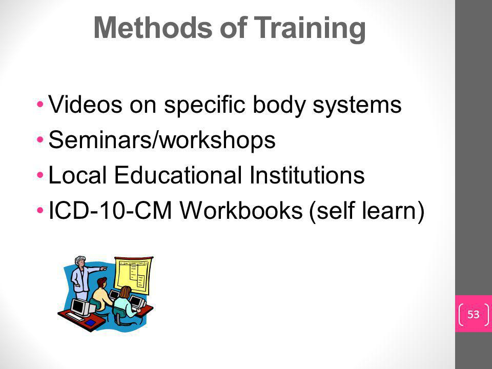 Methods of Training Videos on specific body systems Seminars/workshops Local Educational Institutions ICD-10-CM Workbooks (self learn) 53