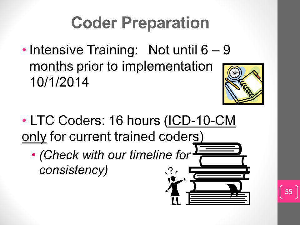 Coder Preparation Intensive Training: Not until 6 – 9 months prior to implementation 10/1/2014 LTC Coders: 16 hours (ICD-10-CM only for current trained coders) (Check with our timeline for consistency) 55