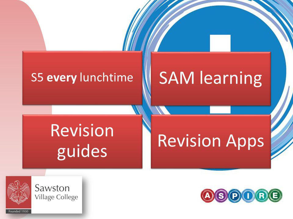 Pupil perspective S5 every lunchtime SAM learning Revision guides Revision Apps