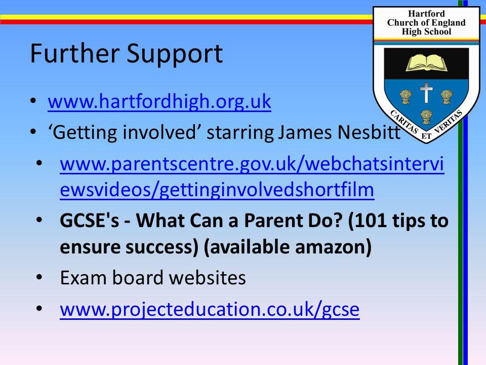 Further Support www.hartfordhigh.org.uk 'Getting involved' starring James Nesbitt www.parentscentre.gov.uk/webchatsintervi ewsvideos/gettinginvolvedshortfilm www.parentscentre.gov.uk/webchatsintervi ewsvideos/gettinginvolvedshortfilm GCSE s - What Can a Parent Do.