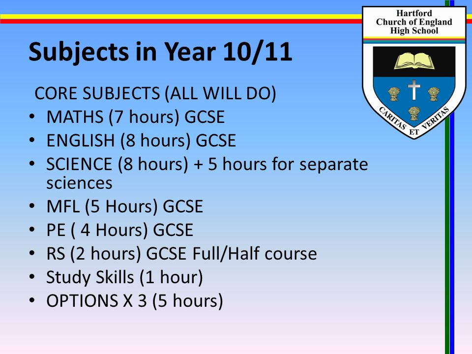 Subjects in Year 10/11 CORE SUBJECTS (ALL WILL DO) MATHS (7 hours) GCSE ENGLISH (8 hours) GCSE SCIENCE (8 hours) + 5 hours for separate sciences MFL (5 Hours) GCSE PE ( 4 Hours) GCSE RS (2 hours) GCSE Full/Half course Study Skills (1 hour) OPTIONS X 3 (5 hours)