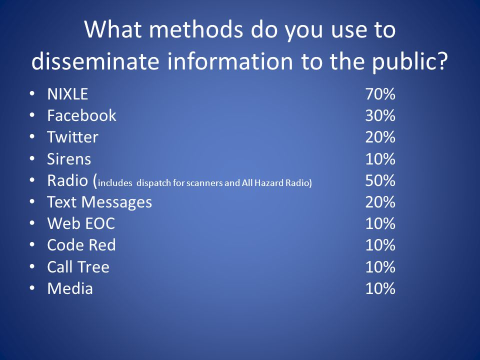 What methods do you use to disseminate information to the public.