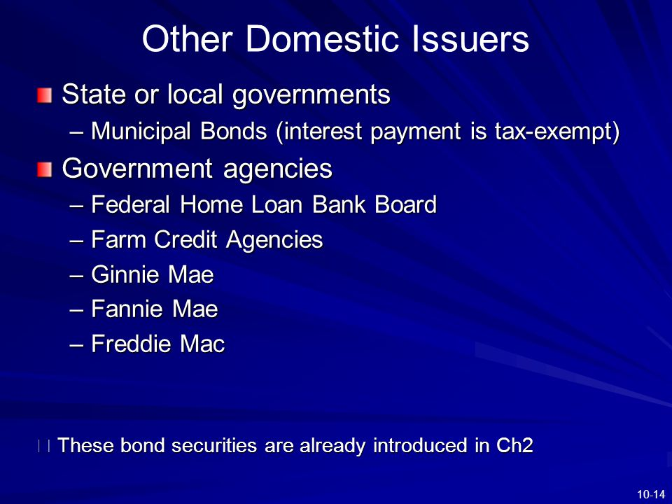 10-14 Other Domestic Issuers State or local governments –Municipal Bonds (interest payment is tax-exempt) Government agencies –Federal Home Loan Bank