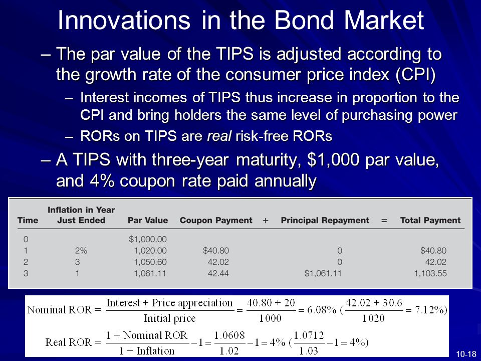 10-18 Innovations in the Bond Market –The par value of the TIPS is adjusted according to the growth rate of the consumer price index (CPI) –Interest i