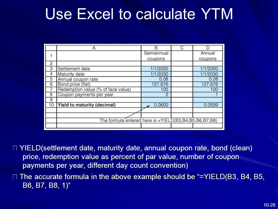 10-28 Use Excel to calculate YTM ※ YIELD(settlement date, maturity date, annual coupon rate, bond (clean) price, redemption value as percent of par va